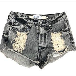 Brandy Melville Distressed Acid Wash Denim Shorts